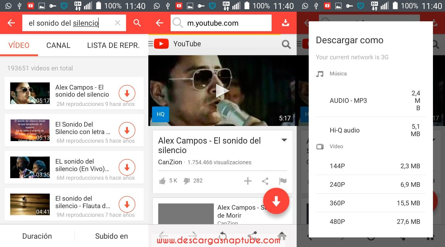 Descargar Videos y Musica de Youtube con Snaptube - DescargaSnaptube.com
